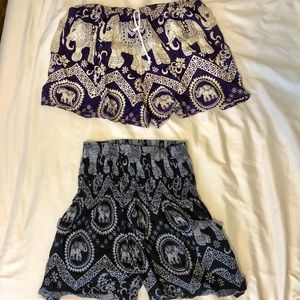 Pants - Thai Elephant Shorts Blue and Black in XS/S